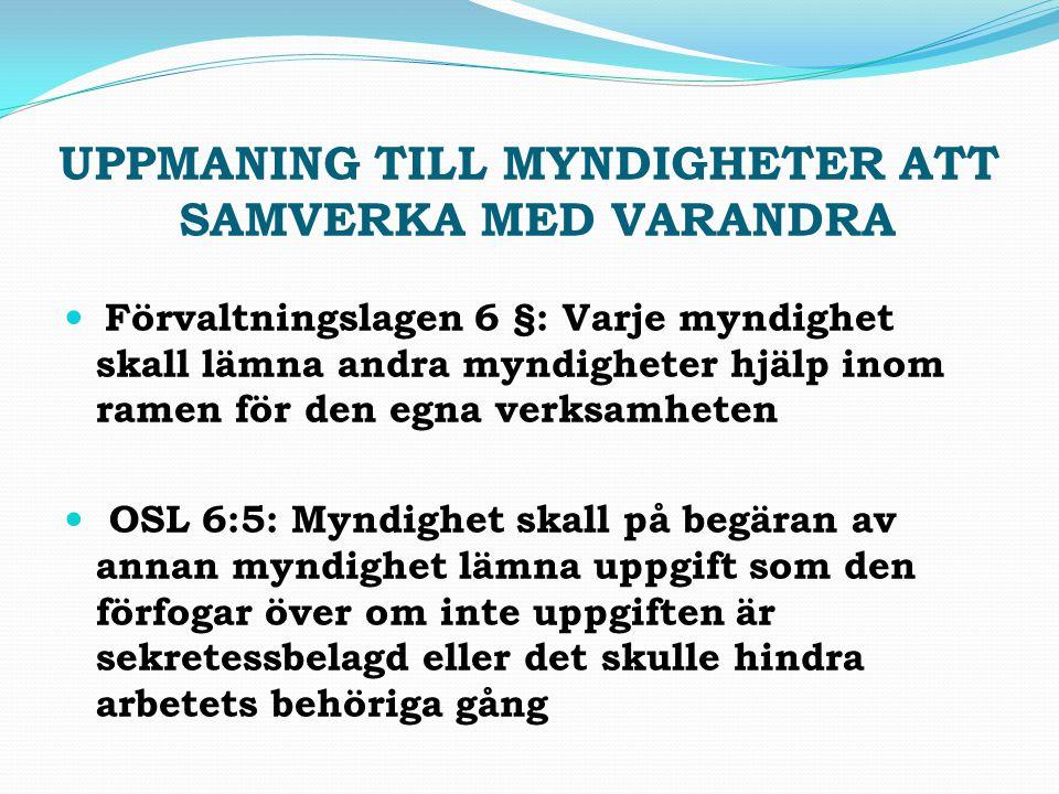 UPPMANING TILL MYNDIGHETER ATT SAMVERKA MED VARANDRA Förvaltningslagen 6 §: Varje myndighet skall lämna andra myndigheter hjälp inom ramen för den egn