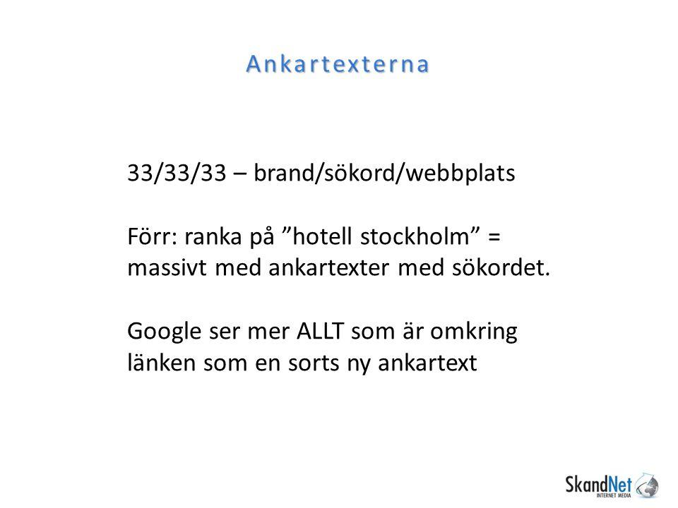 """Ankartexterna 33/33/33 – brand/sökord/webbplats Förr: ranka på """"hotell stockholm"""" = massivt med ankartexter med sökordet. Google ser mer ALLT som är o"""