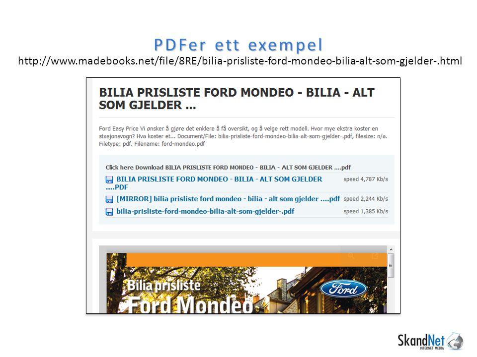 PDFer ett exempel http://www.madebooks.net/file/8RE/bilia-prisliste-ford-mondeo-bilia-alt-som-gjelder-.html
