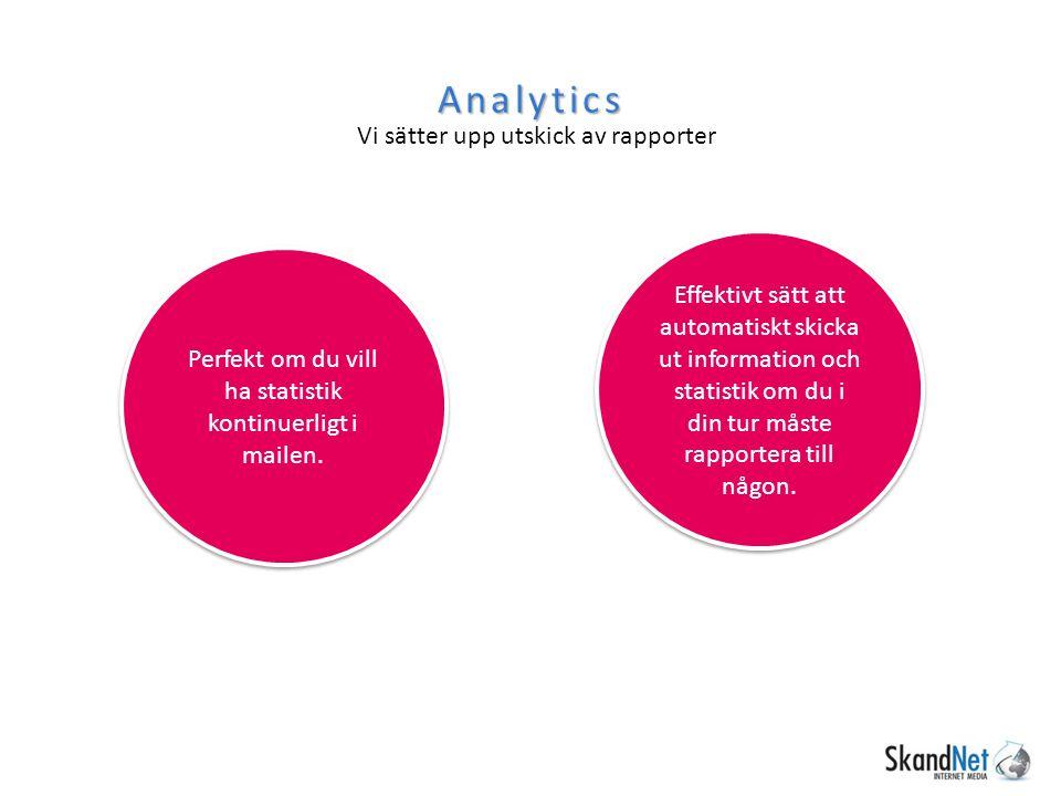 Analytics Vi sätter upp utskick av rapporter Perfekt om du vill ha statistik kontinuerligt i mailen. Effektivt sätt att automatiskt skicka ut informat