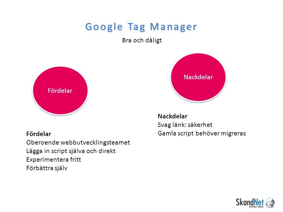 Bra och dåligt Google Tag Manager Fördelar Oberoende webbutvecklingsteamet Lägga in script själva och direkt Experimentera fritt Förbättra själv Nackd