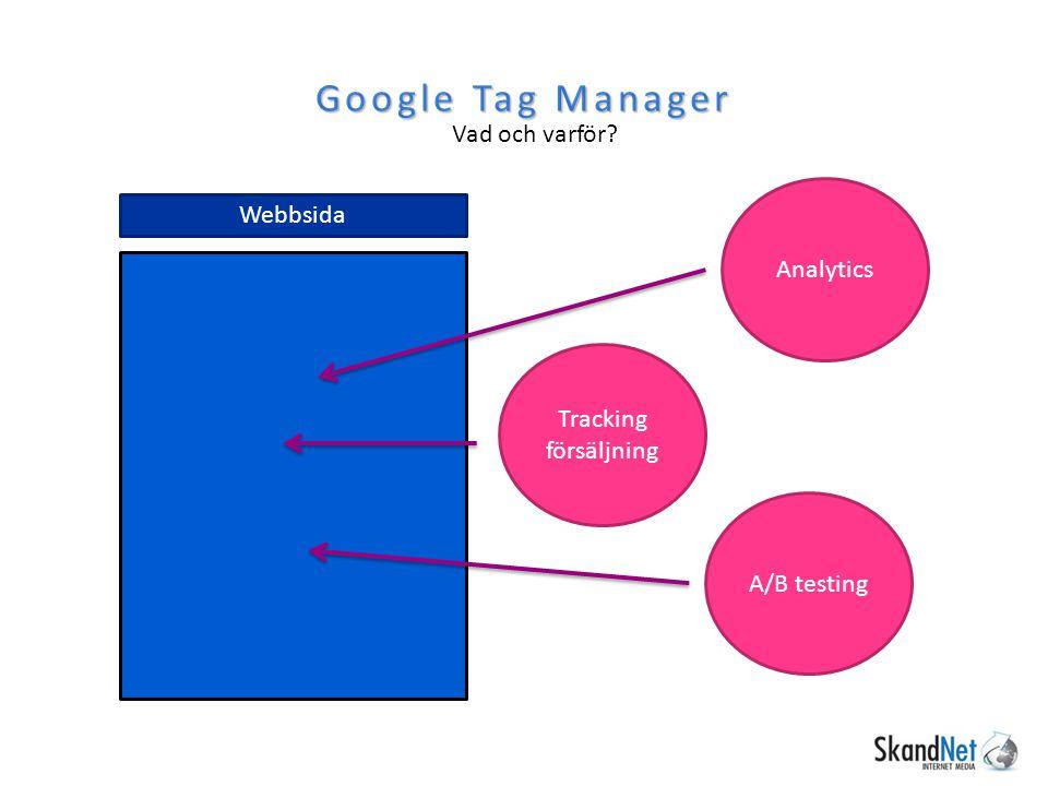 Google Tag Manager Vad och varför? Webbsida Analytics Tracking försäljning A/B testing