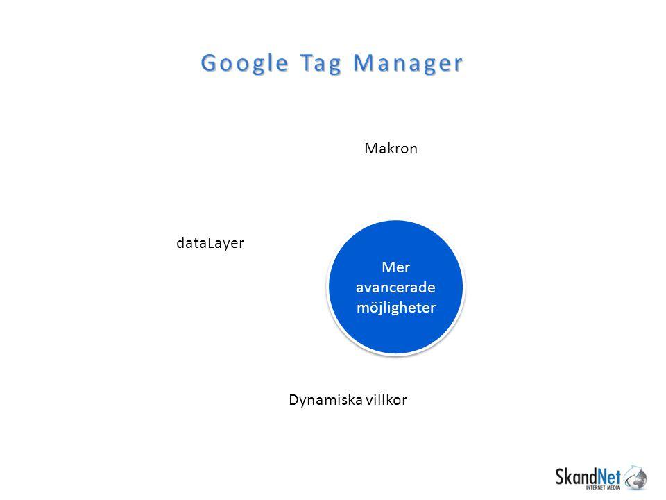 Makron Google Tag Manager Dynamiska villkor dataLayer Mer avancerade möjligheter