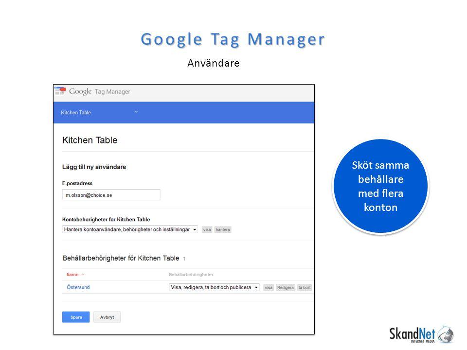 Användare Google Tag Manager Sköt samma behållare med flera konton