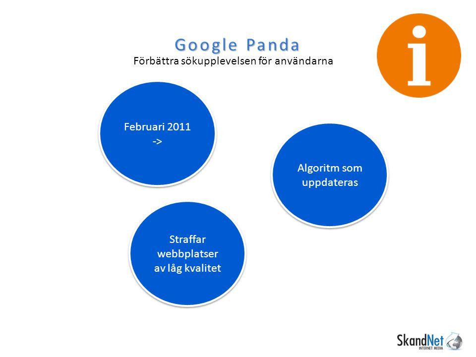 Google Penguin April 2012 -> Straffar webbplatser som har skadliga länkar till sig.