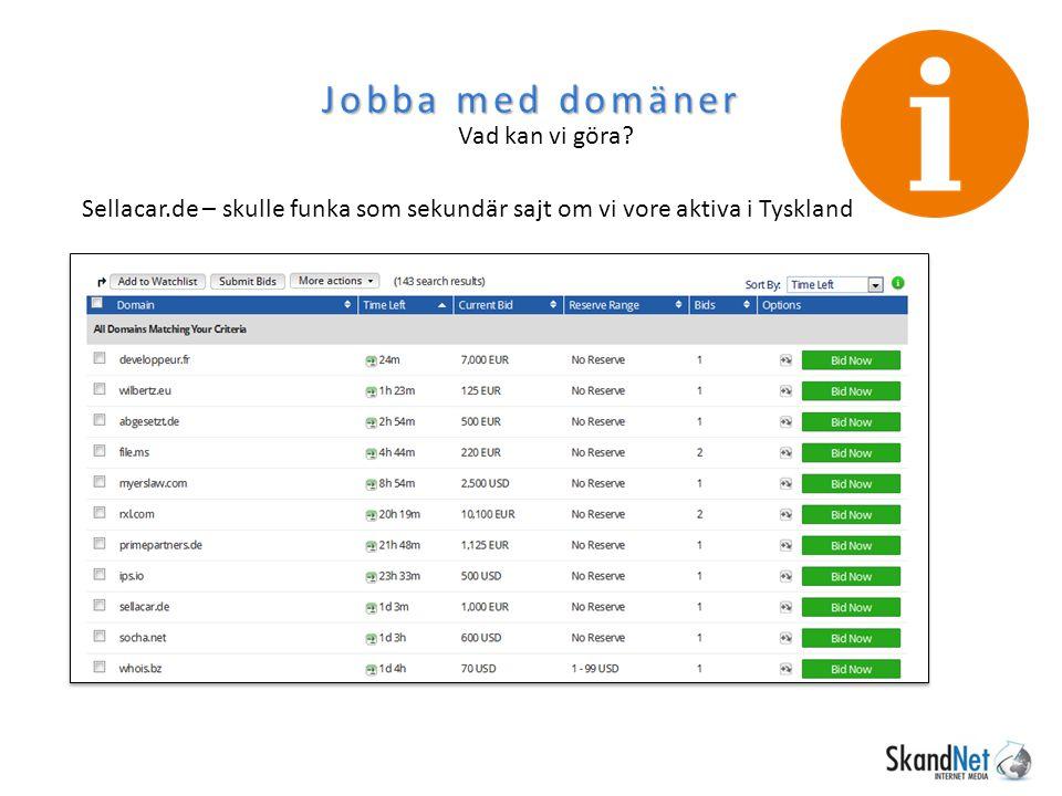 Jobba med domäner Vad kan vi göra? Sellacar.de – skulle funka som sekundär sajt om vi vore aktiva i Tyskland