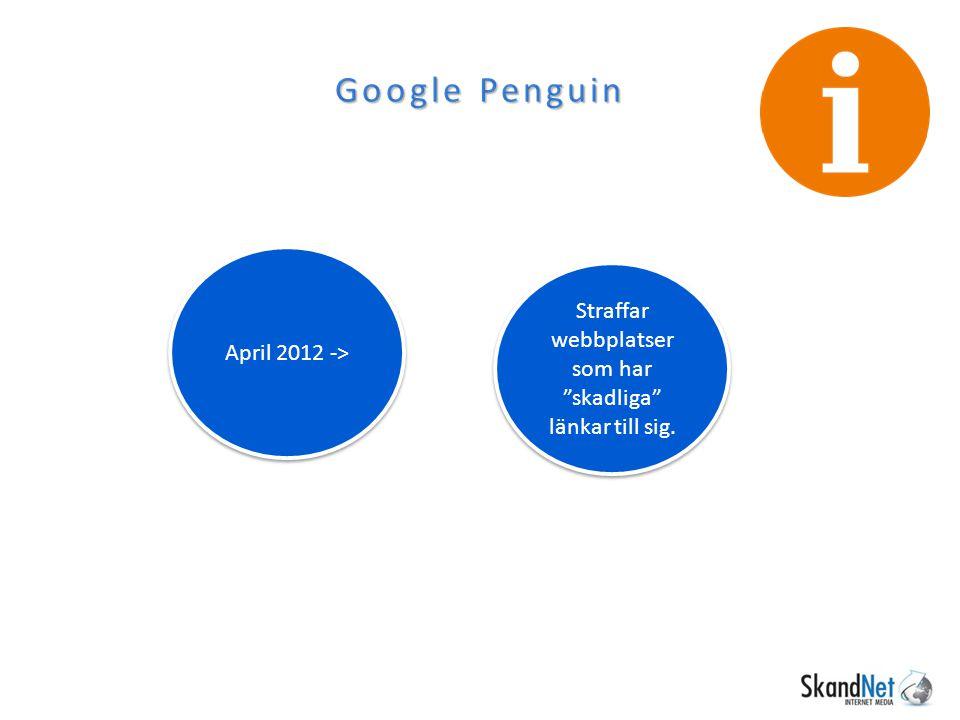 """Google Penguin April 2012 -> Straffar webbplatser som har """"skadliga"""" länkar till sig."""