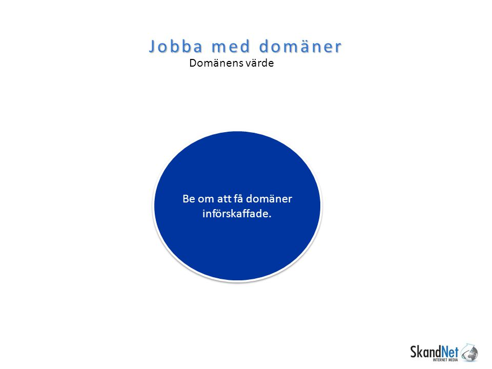 Jobba med domäner Domänens värde Be om att få domäner införskaffade.