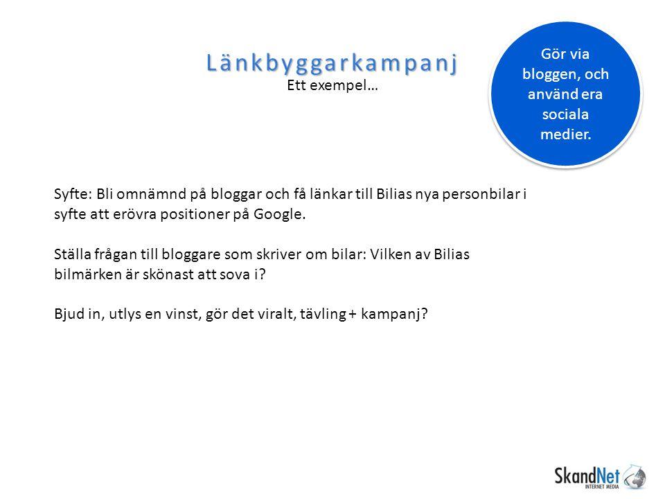 Länkbyggarkampanj Ett exempel… Syfte: Bli omnämnd på bloggar och få länkar till Bilias nya personbilar i syfte att erövra positioner på Google. Ställa