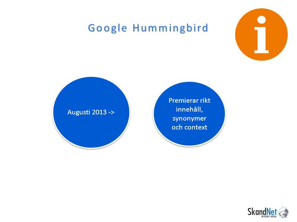 Google Analytics Google / Organic 96% av sökords- informationen dold Förr visades allt