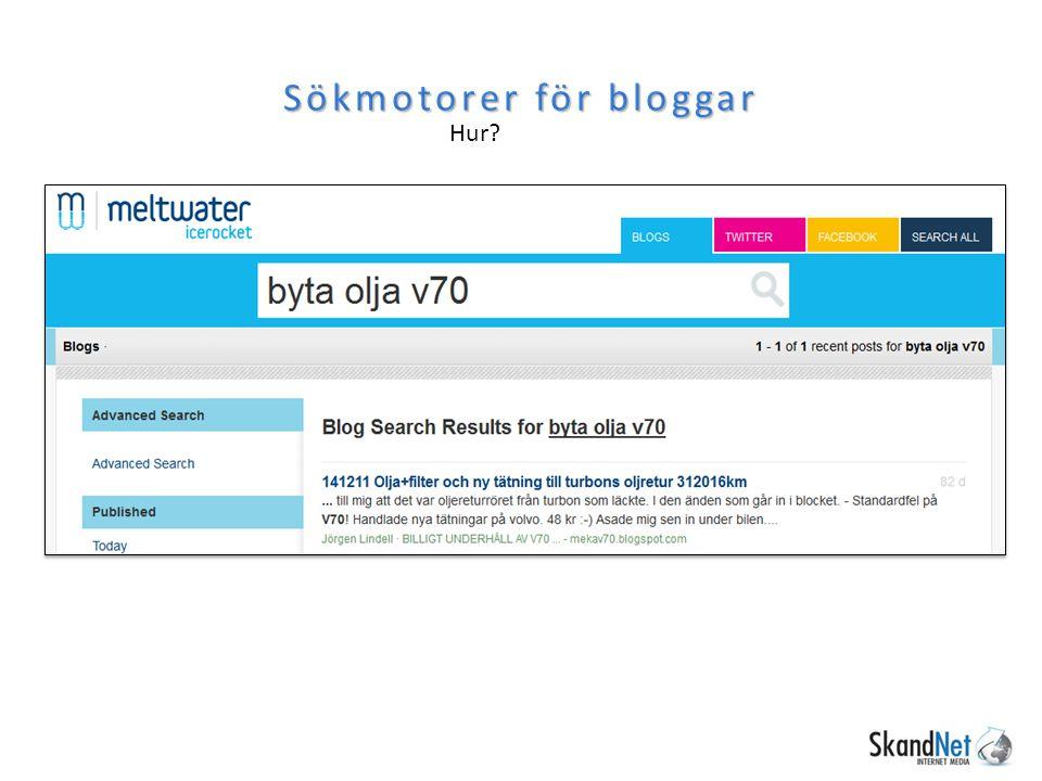 Sökmotorer för bloggar Hur? http://www.icerocket.com/ http://www.twingly.com/search