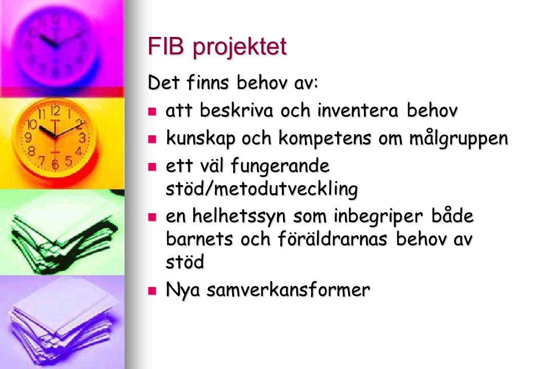 FIB projektet Det finns behov av: att beskriva och inventera behov att beskriva och inventera behov kunskap och kompetens om målgruppen kunskap och ko