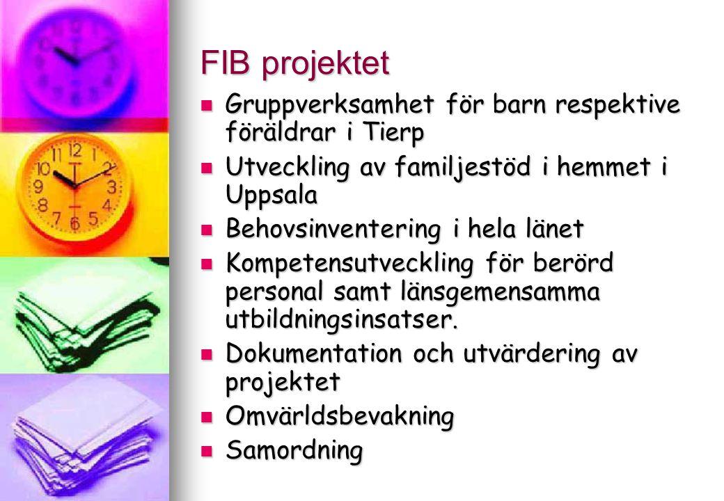 FIB projektet Gruppverksamhet för barn respektive föräldrar i Tierp Gruppverksamhet för barn respektive föräldrar i Tierp Utveckling av familjestöd i