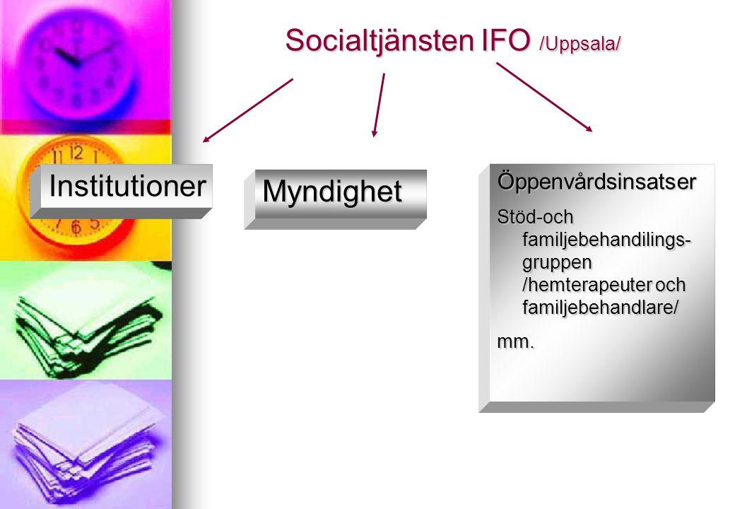 Socialtjänsten IFO /Uppsala/ Myndighet Öppenvårdsinsatser Stöd-och familjebehandilings- gruppen /hemterapeuter och familjebehandlare/ mm. Institutione