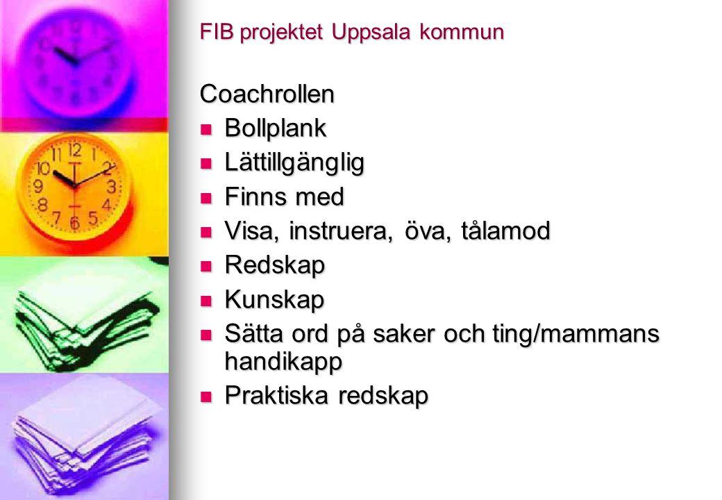 FIB projektet Uppsala kommun Coachrollen Bollplank Bollplank Lättillgänglig Lättillgänglig Finns med Finns med Visa, instruera, öva, tålamod Visa, ins