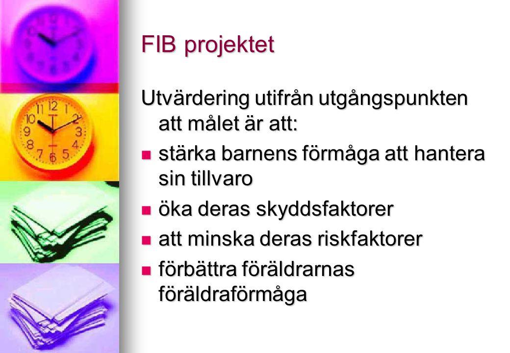 FIB projektet Utvärdering utifrån utgångspunkten att målet är att: stärka barnens förmåga att hantera sin tillvaro stärka barnens förmåga att hantera