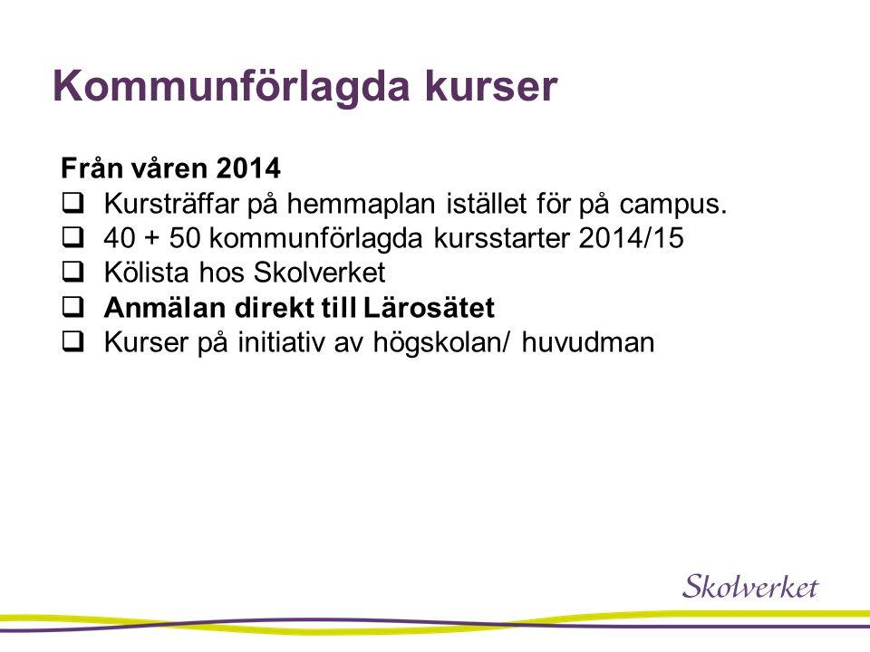 Kommunförlagda kurser Från våren 2014  Kursträffar på hemmaplan istället för på campus.