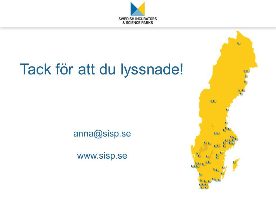 Tack för att du lyssnade! anna@sisp.se www.sisp.se