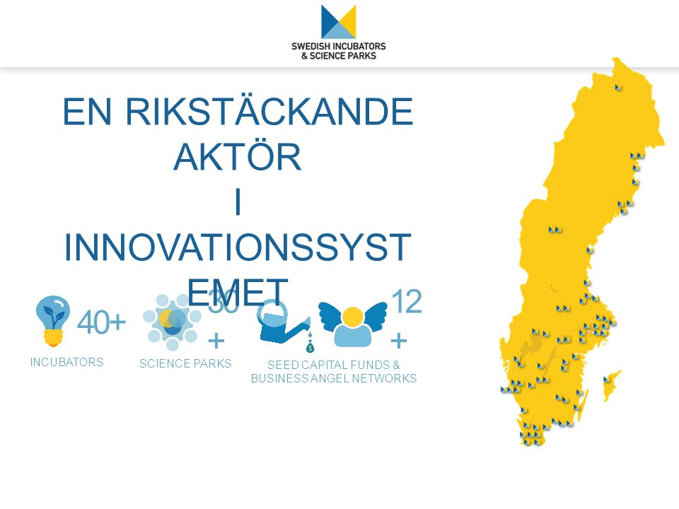 INCUBATORS 40+ SCIENCE PARKS 30 + SEED CAPITAL FUNDS & BUSINESS ANGEL NETWORKS 12 + EN RIKSTÄCKANDE AKTÖR I INNOVATIONSSYST EMET