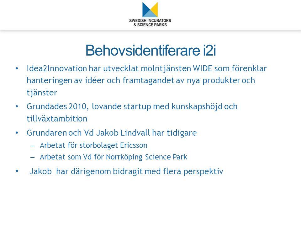Idea2Innovation har utvecklat molntjänsten WIDE som förenklar hanteringen av idéer och framtagandet av nya produkter och tjänster Grundades 2010, lovande startup med kunskapshöjd och tillväxtambition Grundaren och Vd Jakob Lindvall har tidigare – Arbetat för storbolaget Ericsson – Arbetat som Vd för Norrköping Science Park Jakob har därigenom bidragit med flera perspektiv Behovsidentiferare i2i