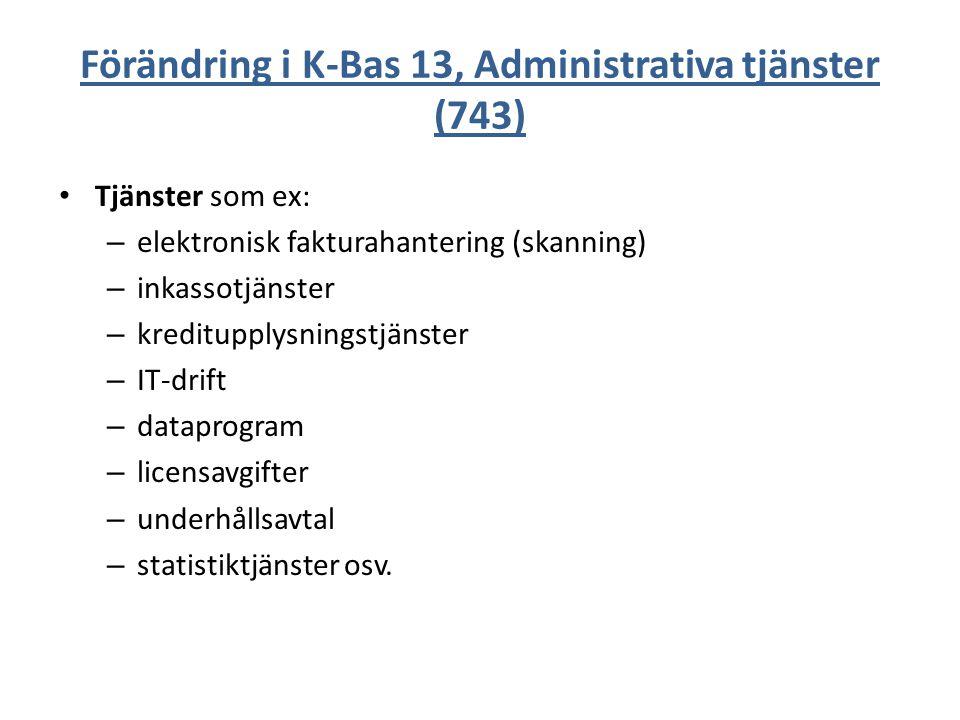 Förändring i K-Bas 13, Administrativa tjänster (743) Tjänster som ex: – elektronisk fakturahantering (skanning) – inkassotjänster – kreditupplysningst