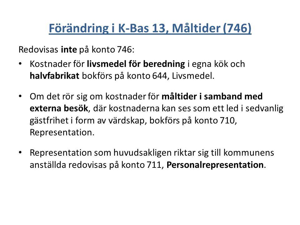 Förändring i K-Bas 13, Måltider (746) Redovisas inte på konto 746: Kostnader för livsmedel för beredning i egna kök och halvfabrikat bokförs på konto