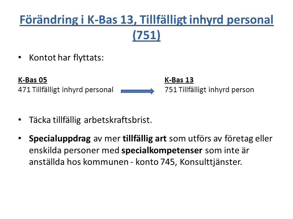 Förändring i K-Bas 13, Tillfälligt inhyrd personal (751) Kontot har flyttats: K-Bas 05K-Bas 13 471 Tillfälligt inhyrd personal751 Tillfälligt inhyrd p