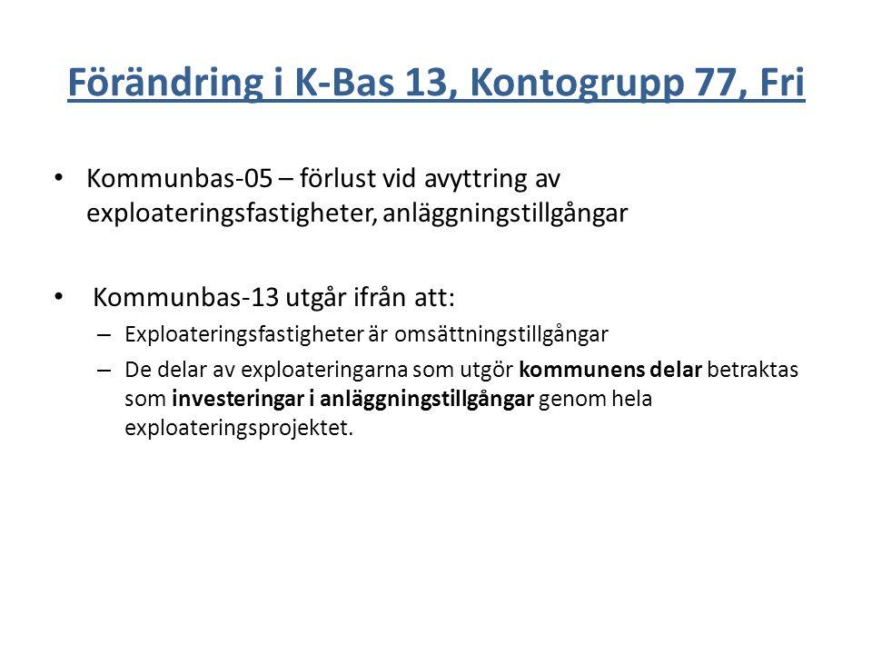 Förändring i K-Bas 13, Kontogrupp 77, Fri Kommunbas-05 – förlust vid avyttring av exploateringsfastigheter, anläggningstillgångar Kommunbas-13 utgår i