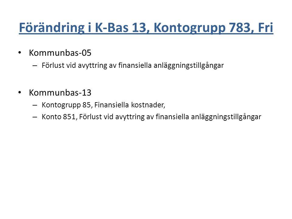 Förändring i K-Bas 13, Kontogrupp 783, Fri Kommunbas-05 – Förlust vid avyttring av finansiella anläggningstillgångar Kommunbas-13 – Kontogrupp 85, Fin