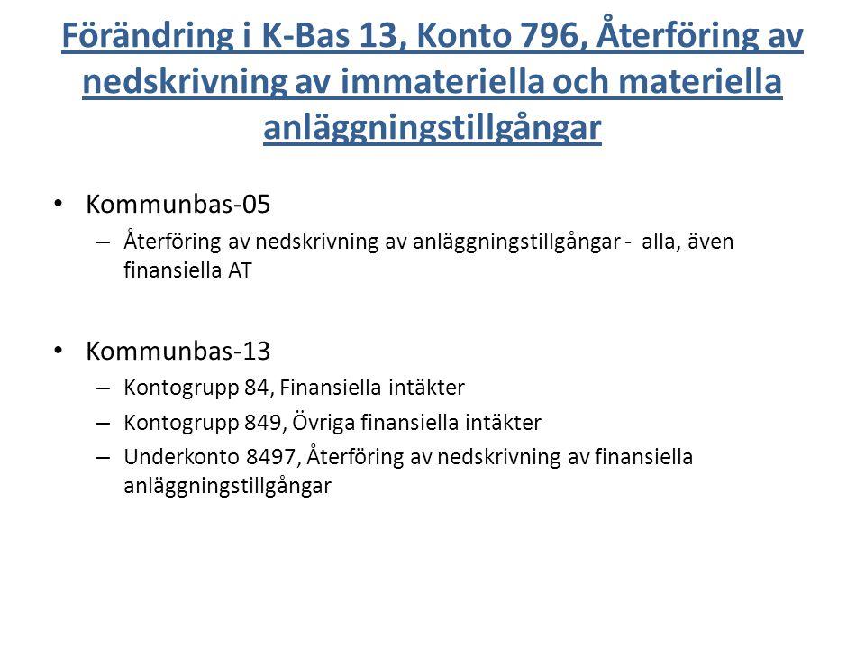 Förändring i K-Bas 13, Konto 796, Återföring av nedskrivning av immateriella och materiella anläggningstillgångar Kommunbas-05 – Återföring av nedskri