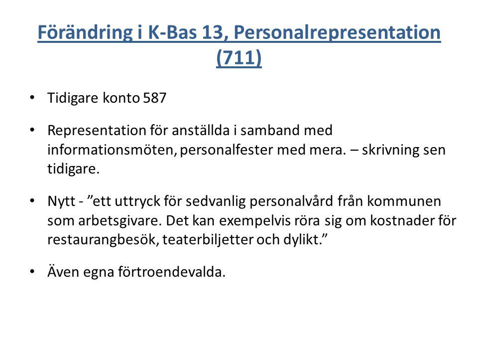Förändring i K-Bas 13, Personalrepresentation (711) Tidigare konto 587 Representation för anställda i samband med informationsmöten, personalfester me