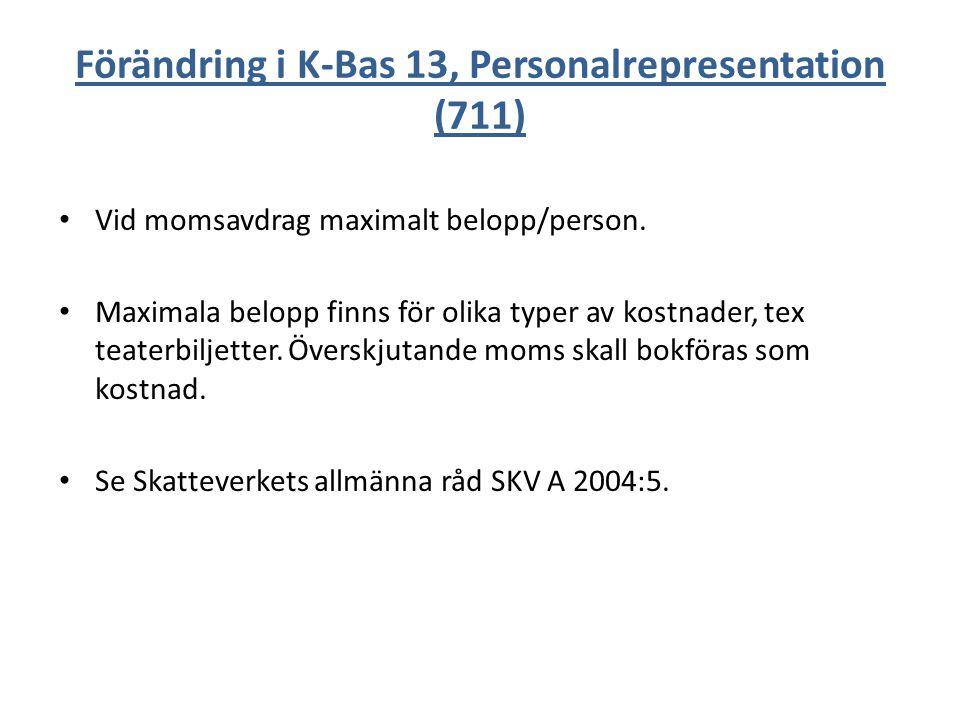 Förändring i K-Bas 13, Personalrepresentation (711) Vid momsavdrag maximalt belopp/person. Maximala belopp finns för olika typer av kostnader, tex tea