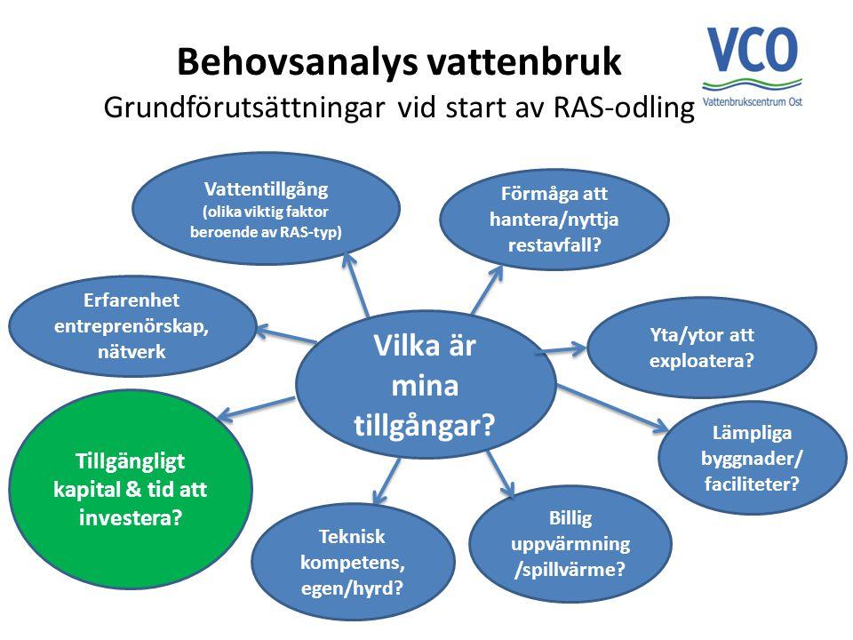 Behovsanalys vattenbruk Grundförutsättningar vid start av RAS-odling Tillgängligt kapital & tid att investera? Lämpliga byggnader/ faciliteter? Billig