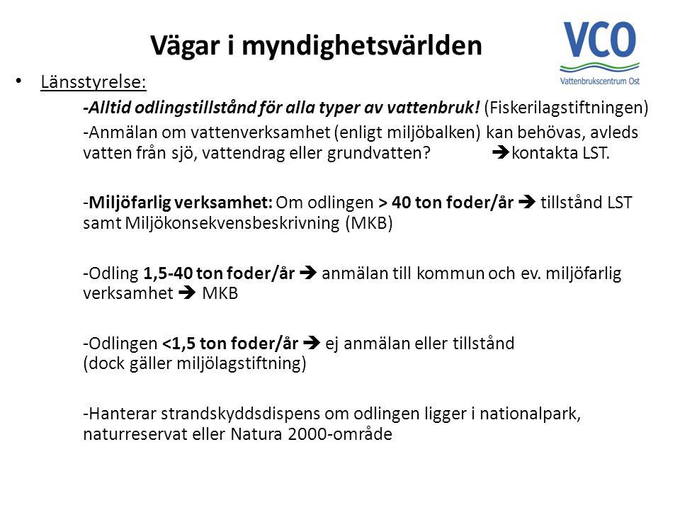 Naturvårdsverk/HAV: -Äger miljölagstiftningen, -Ingen direktkontakt med odlare  LST.
