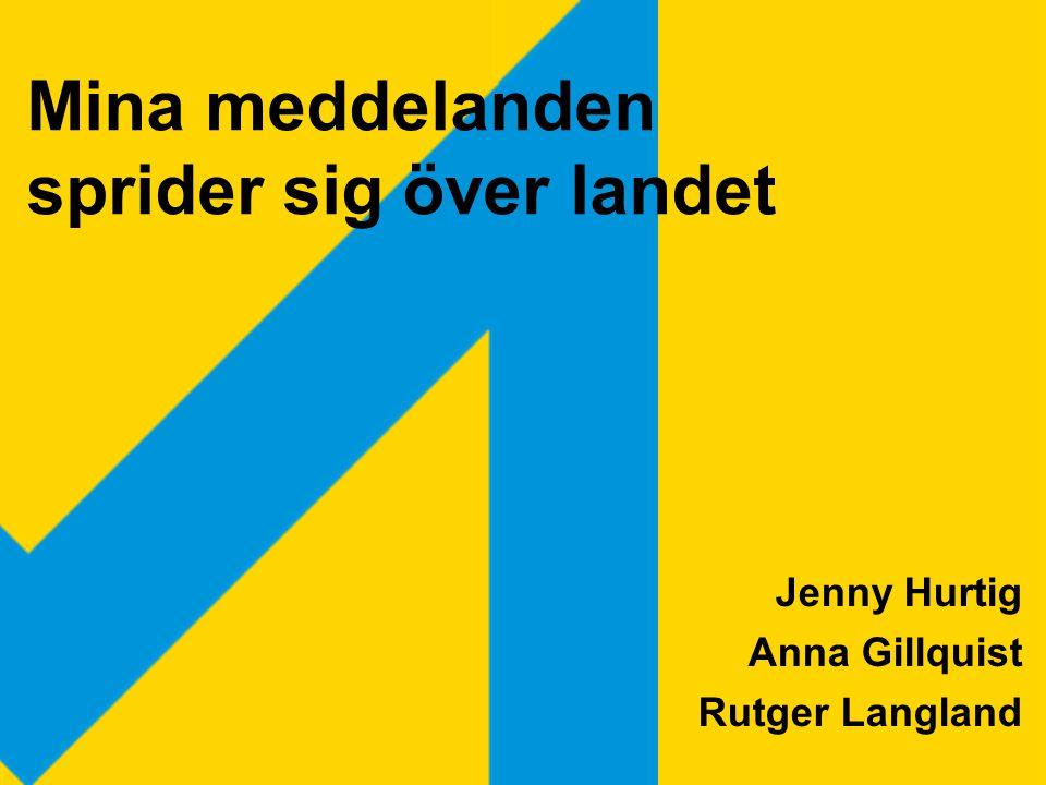 Jenny Hurtig Anna Gillquist Rutger Langland Mina meddelanden sprider sig över landet