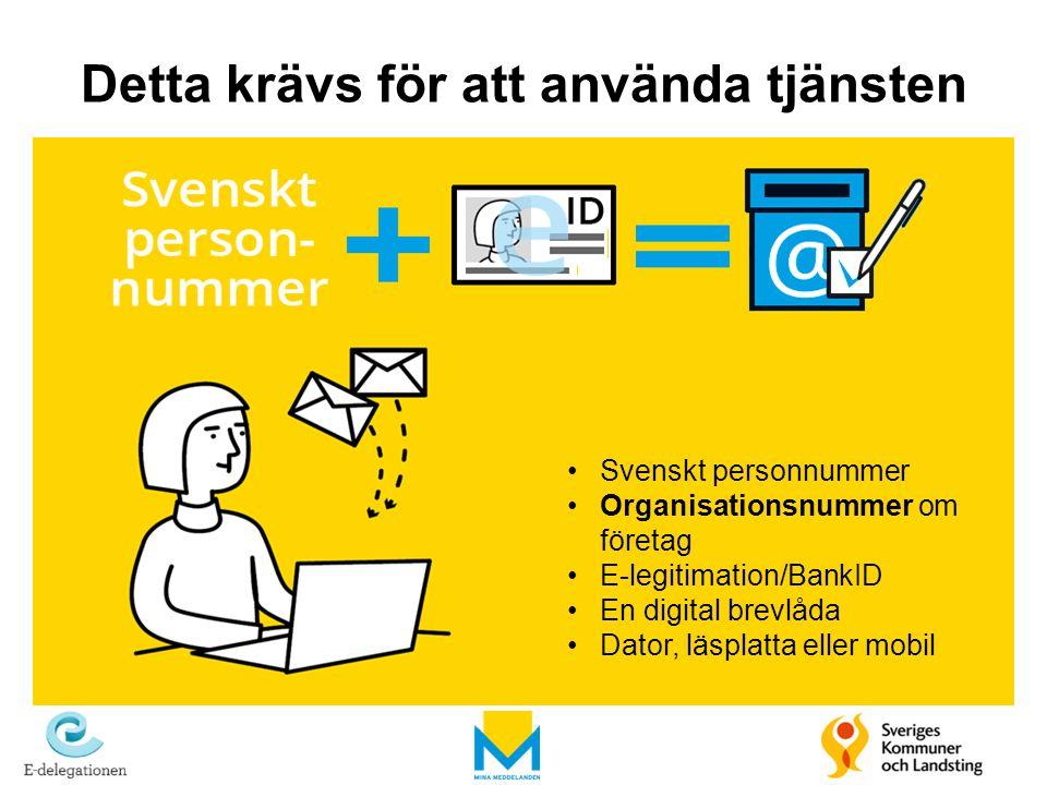 Detta krävs för att använda tjänsten Svenskt personnummer Organisationsnummer om företag E-legitimation/BankID En digital brevlåda Dator, läsplatta el