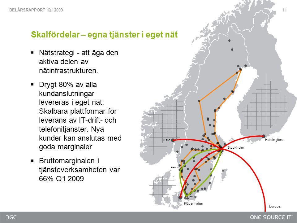  Nätstrategi - att äga den aktiva delen av nätinfrastrukturen.  Drygt 80% av alla kundanslutningar levereras i eget nät. Skalbara plattformar för le