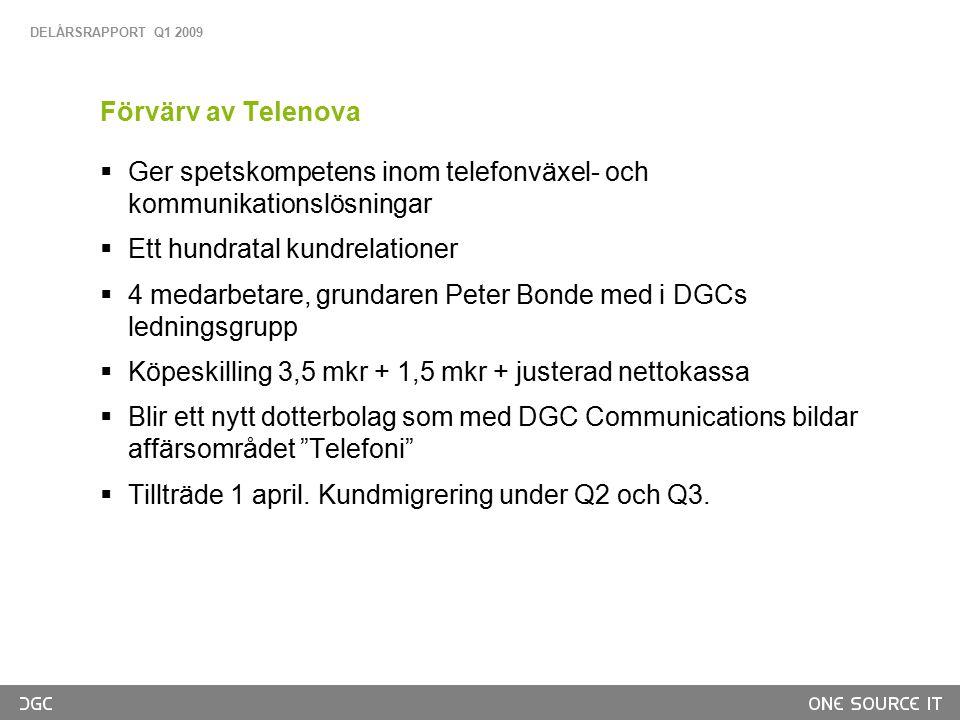 Vad vi säljer, kundexempel Drift av system och 1000 användare IP-VPN till 200 bobutiker Bobutik Borås Bobutik Karlstad Huvudkontor Stockholm Bobutik Växjö DGC erbjuder en modern IT-lösning med en support, oavsett problem. Mårten Wahlström IT-chef, Svensk Fastighetsförmedling DELÅRSRAPPORT Q1 2009