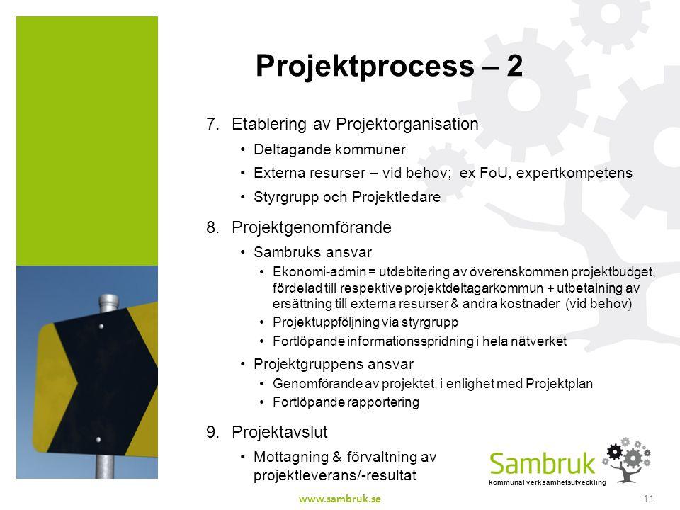 kommunal verksamhetsutveckling Projektprocess – 2 7.Etablering av Projektorganisation Deltagande kommuner Externa resurser – vid behov; ex FoU, expert