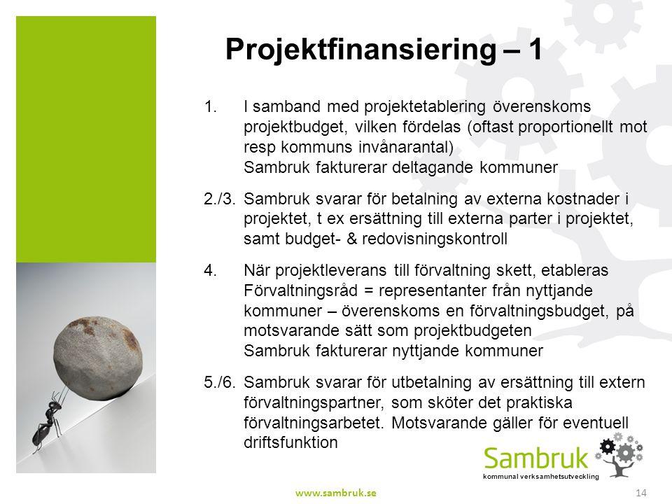 kommunal verksamhetsutveckling Projektfinansiering – 1 1.I samband med projektetablering överenskoms projektbudget, vilken fördelas (oftast proportion
