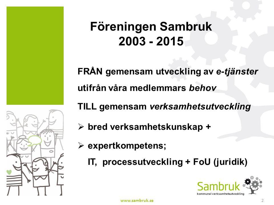 kommunal verksamhetsutveckling Föreningen Sambruk 2003 - 2015 FRÅN gemensam utveckling av e-tjänster utifrån våra medlemmars behov TILL gemensam verks