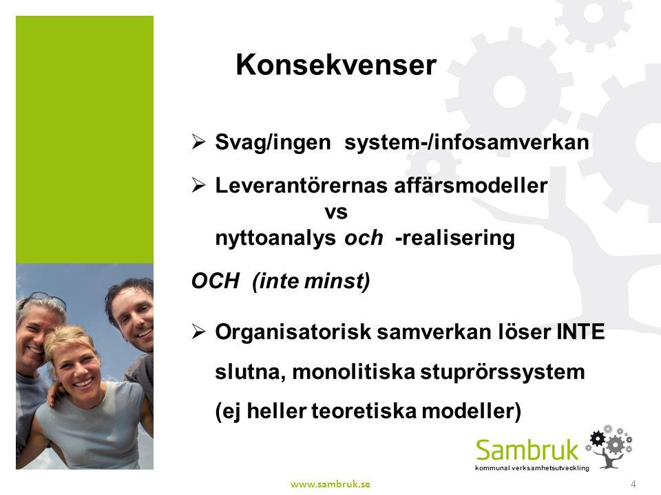 kommunal verksamhetsutveckling Konsekvenser  Svag/ingen system-/infosamverkan  Leverantörernas affärsmodeller vs nyttoanalys och -realisering OCH (i