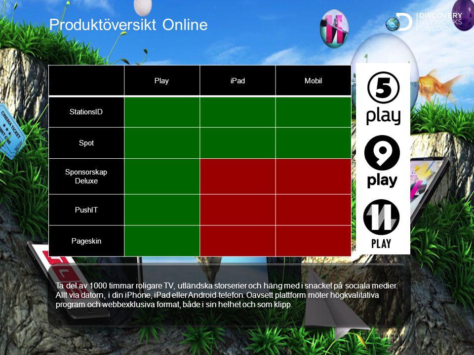 Sv Standard Produktöversikt Online PlayiPadMobil StationsID Spot Sponsorskap Deluxe PushIT Pageskin Ta del av 1000 timmar roligare TV, utländska storserier och häng med i snacket på sociala medier.