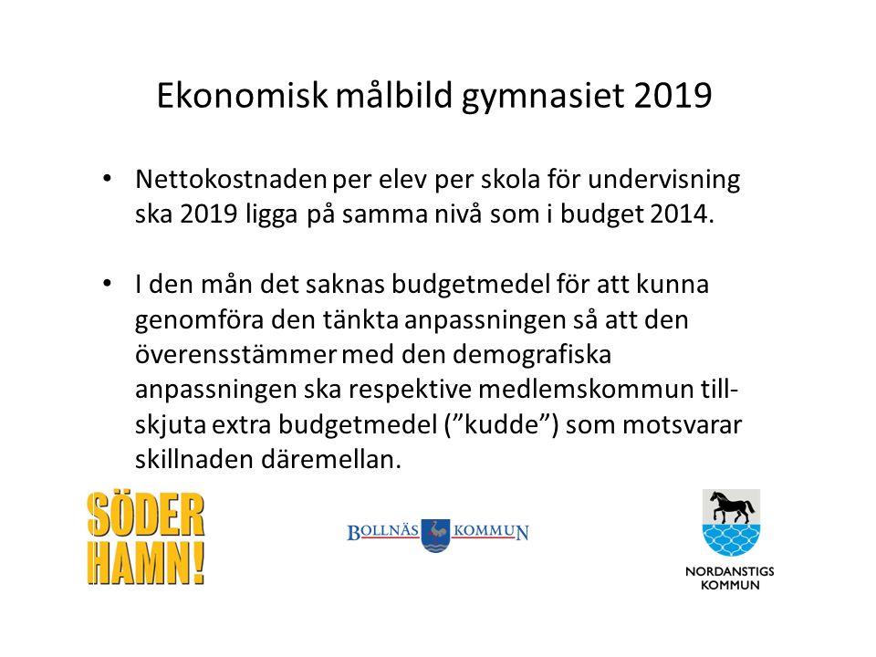 Ekonomisk målbild gymnasiet 2019 Nettokostnaden per elev per skola för undervisning ska 2019 ligga på samma nivå som i budget 2014.