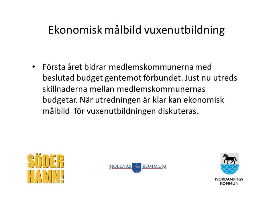 Ekonomisk målbild vuxenutbildning Första året bidrar medlemskommunerna med beslutad budget gentemot förbundet. Just nu utreds skillnaderna mellan medl