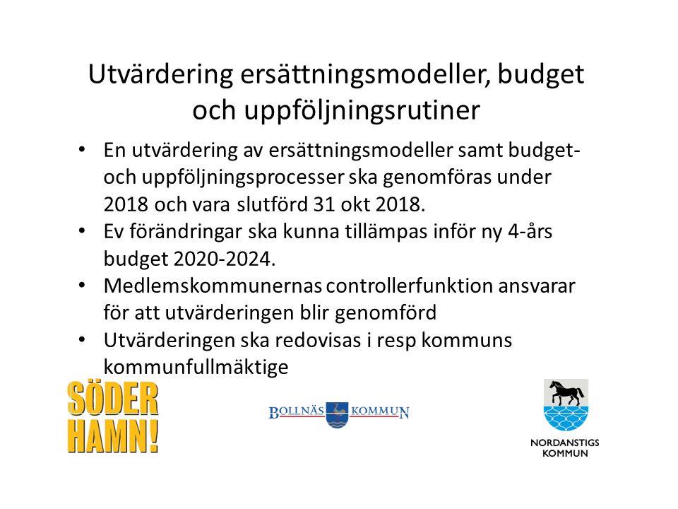 Utvärdering ersättningsmodeller, budget och uppföljningsrutiner En utvärdering av ersättningsmodeller samt budget- och uppföljningsprocesser ska genomföras under 2018 och vara slutförd 31 okt 2018.