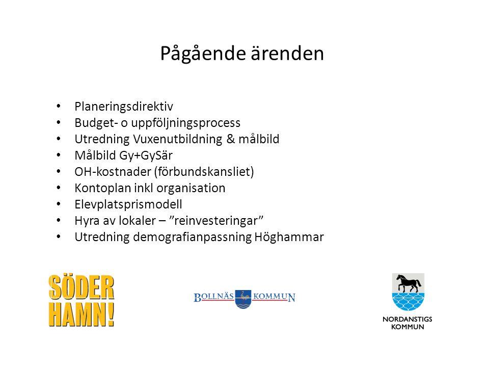 Pågående ärenden Planeringsdirektiv Budget- o uppföljningsprocess Utredning Vuxenutbildning & målbild Målbild Gy+GySär OH-kostnader (förbundskansliet)