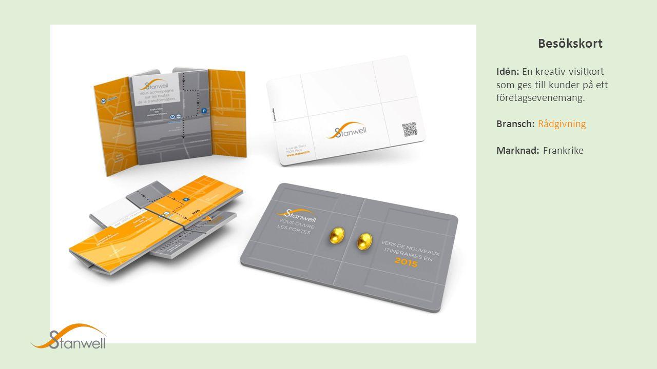 Besökskort Idén: En kreativ visitkort som ges till kunder på ett företagsevenemang.