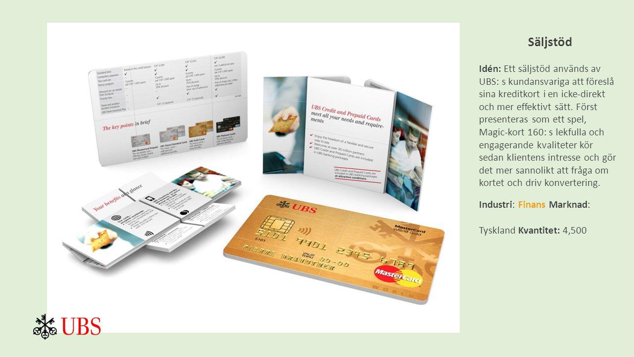 Säljstöd Idén: Ett säljstöd används av UBS: s kundansvariga att föreslå sina kreditkort i en icke-direkt och mer effektivt sätt.