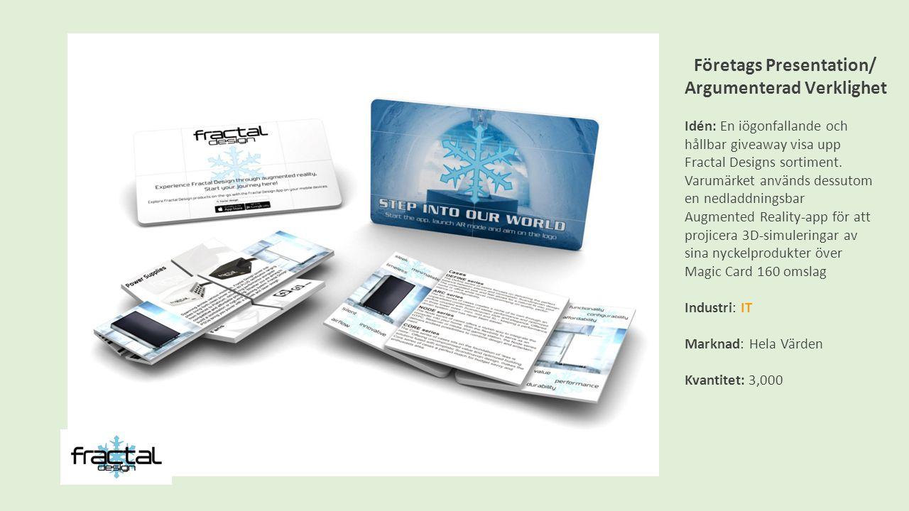 Företags Presentation/ Argumenterad Verklighet Idén: En iögonfallande och hållbar giveaway visa upp Fractal Designs sortiment.
